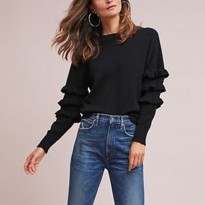 Anthropologie Tiered Ruffles Pulllover Sweater